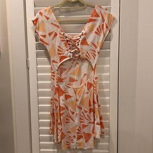 LF open back lace up patterned dress